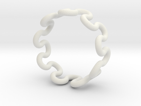 Wave Ring (24mm / 0.94inch inner diameter) in White Natural Versatile Plastic