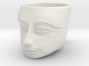 Tutankhamen Face on a Cup (Egyptian Pharaoh) in White Natural Versatile Plastic