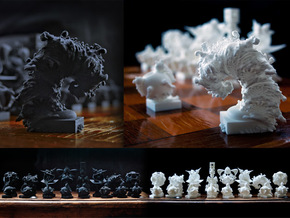 Surreal Chess Set - My Masterpieces - The Knight in White Natural Versatile Plastic