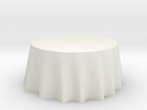 "1:24 Draped Table - 60"" diameter in White Natural Versatile Plastic"