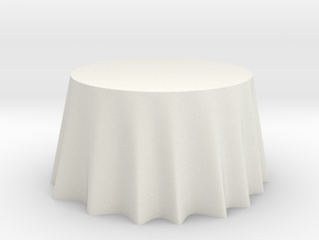 "1:24 Draped Table - 48"" diameter in White Strong & Flexible"