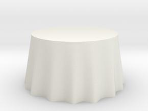"1:48 Draped Table - 48"" diameter in White Natural Versatile Plastic"
