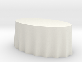 1:48 Draped Table - Large Oval in White Natural Versatile Plastic