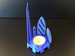 Tea Light London Skyline in Blue Strong & Flexible Polished