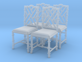 1:43 Chinese Chippendale Chair - Set of 4 in Frosted Ultra Detail