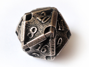 Stretcher d20 in Polished Bronzed Silver Steel