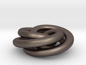 Torus Knot Pendant in Polished Bronzed Silver Steel