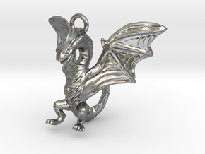 Dragon Charm in Natural Silver