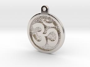 Om Pendant in Rhodium Plated Brass