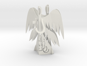 Two Angels 3D - Prayer and Cross in White Natural Versatile Plastic