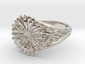 Gerbera Daisy Ring in Rhodium Plated
