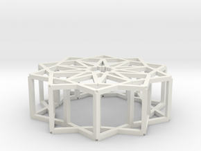 Cube Star Ornament 2.0 in White Natural Versatile Plastic