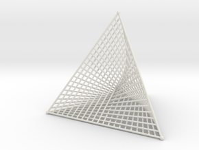 Ribbed Hemicube Tetrahedron in White Natural Versatile Plastic