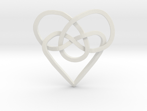 Infinity Heart Knot Pendant in White Natural Versatile Plastic