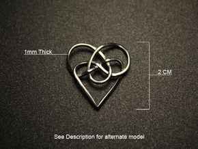 Infinity Heart Knot Pendant in Fine Detail Polished Silver