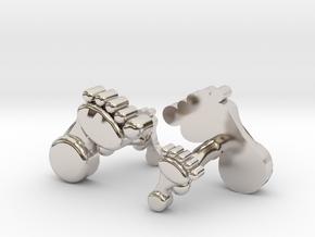 Dad And Baby Feet Cufflinks in Rhodium Plated Brass