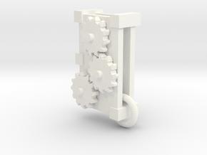 Trirotary Cogs Pendant in White Processed Versatile Plastic