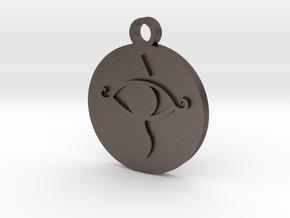 Legend of Zelda Sheikah Eye Symbol Pendant in Polished Bronzed Silver Steel