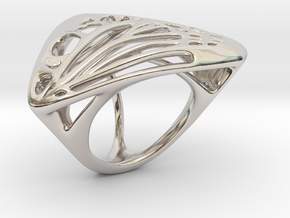 Butterfly Ring [ Size 4 ] in Rhodium Plated Brass