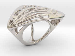 Butterfly Ring [ Size 5 ] in Rhodium Plated Brass