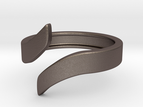 Open Design Ring (22mm / 0.86inch inner diameter) in Polished Bronzed Silver Steel