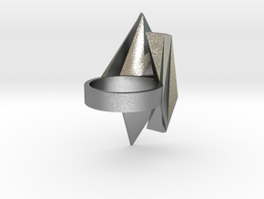 Spaceship Ring v2 size 8 in Natural Silver