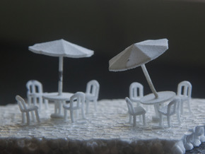 Sidewalk Cafe Set x4, HO Scale (1:87) in White Natural Versatile Plastic
