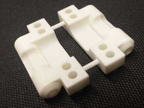 CPD 0-degree RC10 Rear Arm Mounts in White Strong & Flexible Polished