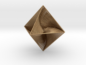 0048 Octahedron Line Design (10 cm) #002 in Natural Brass