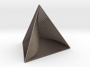0046 Tetrahedron Line Design (5 cm) #001 in Polished Bronzed Silver Steel
