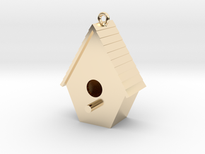 Birdhouse Pendant in 14k Gold Plated Brass