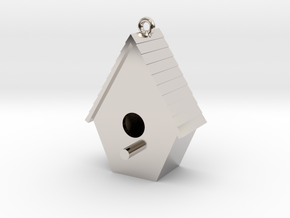 Birdhouse Pendant in Rhodium Plated Brass