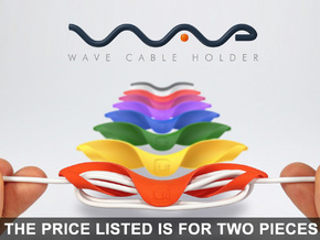 Wave Cable Holder - The smart cable organizer! in Orange Strong & Flexible Polished