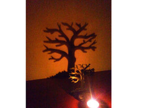 Tea light - tree in Black Natural Versatile Plastic