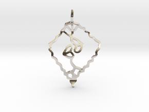 Leaf kiss in Rhodium Plated Brass