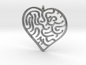 Heart Maze Pendant 3 in Natural Silver