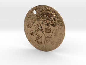 Tragedy Comedy Mask Pendant in Natural Brass