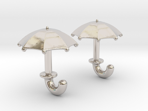 Umbrella Cufflinks in Rhodium Plated Brass