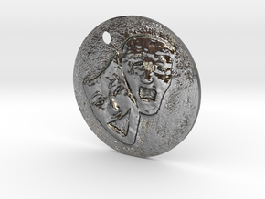 Tragedy Comedy Mask Pendant in Polished Silver