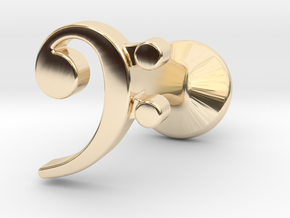 Bass Clef Cufflink (single) in 14k Gold Plated Brass