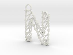 "Sketch ""N"" Pendant in White Natural Versatile Plastic"