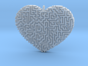 Heart Maze-Shaped Pendant 2 in Smooth Fine Detail Plastic