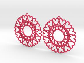 Circle Hearts Earrings in Pink Processed Versatile Plastic