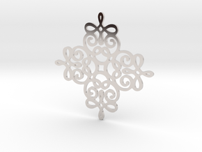 Quad Flourish Pendant in Rhodium Plated Brass