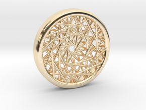 Triple Layered Spirograph Pendant in 14k Gold Plated Brass