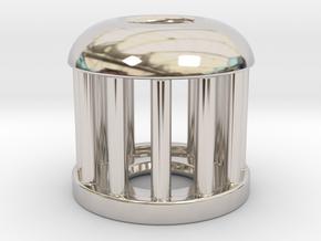 Birdcage Bead 1 (Silver/Brass/Plastic) in Rhodium Plated Brass