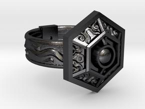 Royal Ring of Grandeur in Polished and Bronzed Black Steel: 5 / 49