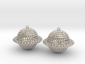 Saturn Voronoi Earrings in Rhodium Plated Brass