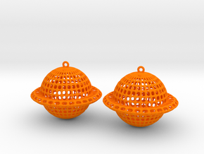 Saturn Voronoi Earrings in Orange Processed Versatile Plastic