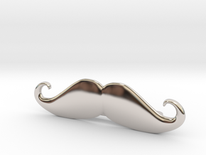 """Italian"" Moustache Tie Bar (Metals) in Rhodium Plated Brass"
